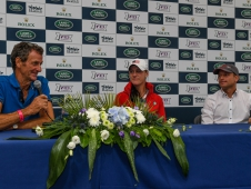 The top 3 (Mark Todd (NZL) riding Leonidas II, Lauren Kieffer (USA) riding Veronica II and Michael Jung (GER) riding La Biosthetique - Sam FBW) after the dressage phase of the The Land Rover Burghley Horse Trials, near Stamford in Lincolnshire, UK between 30th August to 3rd September 2017
