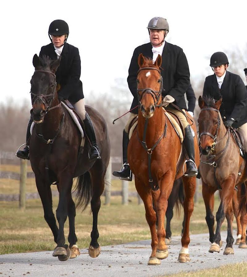 Beth Supik (left) hunting with timber horse trainer Bruce Fenwick. Photo by Carol Fenwick