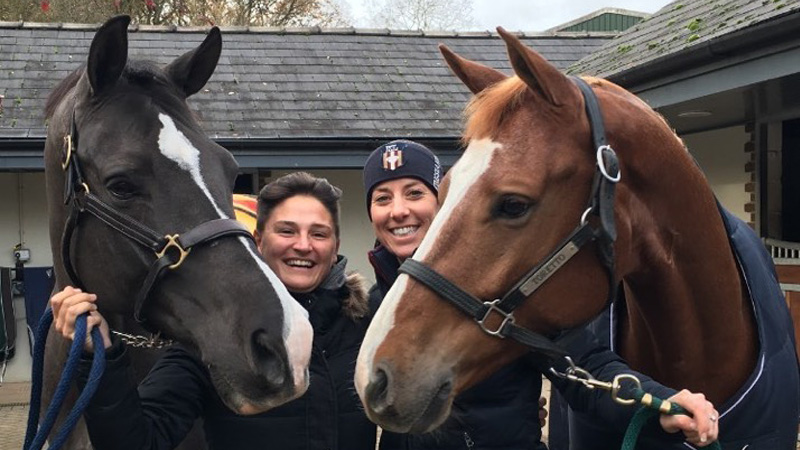 Amelie Kovac (left) with Valegro and Charlotte Dujardin (right) with Pumpkin. Photo courtesy of Amelie Kovac