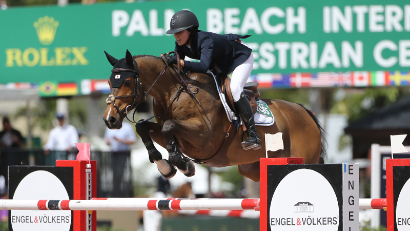 Karen Polle's long relationship with With Wings helped them take the top check in the $130,000 Ruby Et Violette WEF Challenge Cup Round 9. Photo by Sportfot