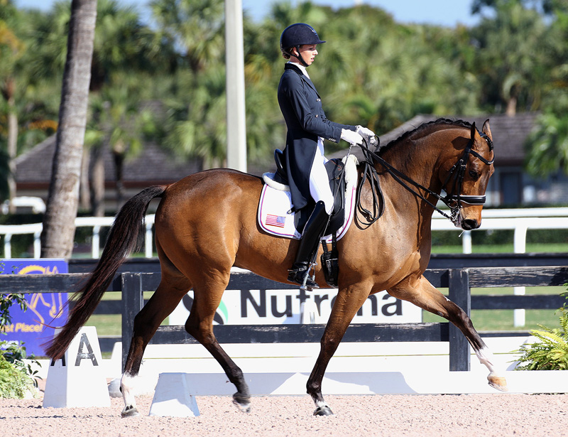 Laura Graves and Fizau showing at the Adequan Global Dressage Festival. Photo by Ken Braddick/dressage-news.com