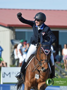 Mandy Porter was thrilled with her clear jump off round with Milano. Photo by Kimberly Loushin.