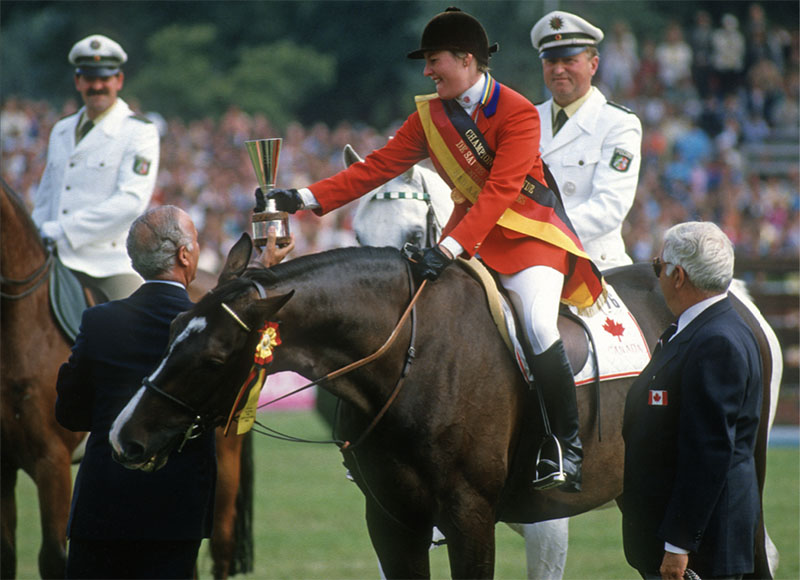 Aboard Mr. T, Gail Greenough became the first woman world champion show jumper. BOB LANGRISH PHOTO