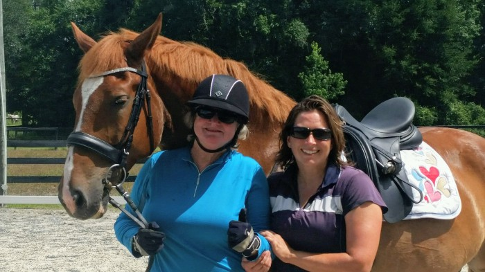 Nancy Bolton and Amber Kimball after Nancys first ride on Kellen 2013